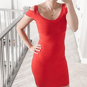 Guess Cold Shoulder Red Bandage Dress Size Small